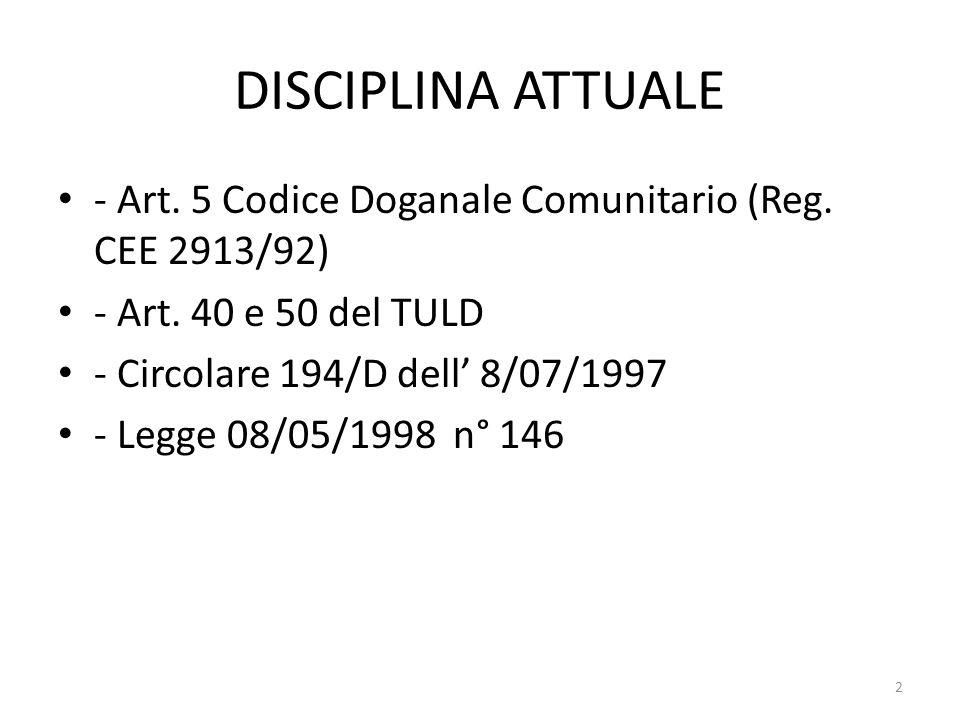 DISCIPLINA ATTUALE - Art. 5 Codice Doganale Comunitario (Reg. CEE 2913/92) - Art. 40 e 50 del TULD - Circolare 194/D dell 8/07/1997 - Legge 08/05/1998