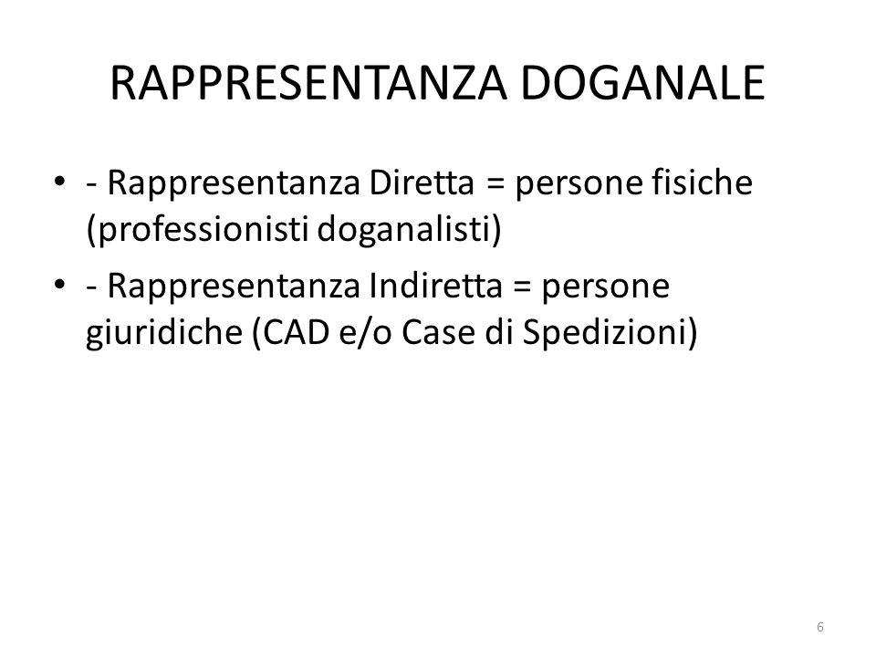 RAPPRESENTANZA DOGANALE - Rappresentanza Diretta = persone fisiche (professionisti doganalisti) - Rappresentanza Indiretta = persone giuridiche (CAD e