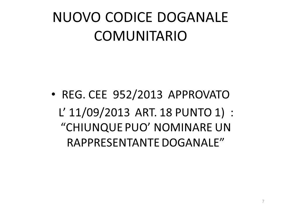 NUOVO CODICE DOGANALE COMUNITARIO REG. CEE 952/2013 APPROVATO L 11/09/2013 ART. 18 PUNTO 1) : CHIUNQUE PUO NOMINARE UN RAPPRESENTANTE DOGANALE 7