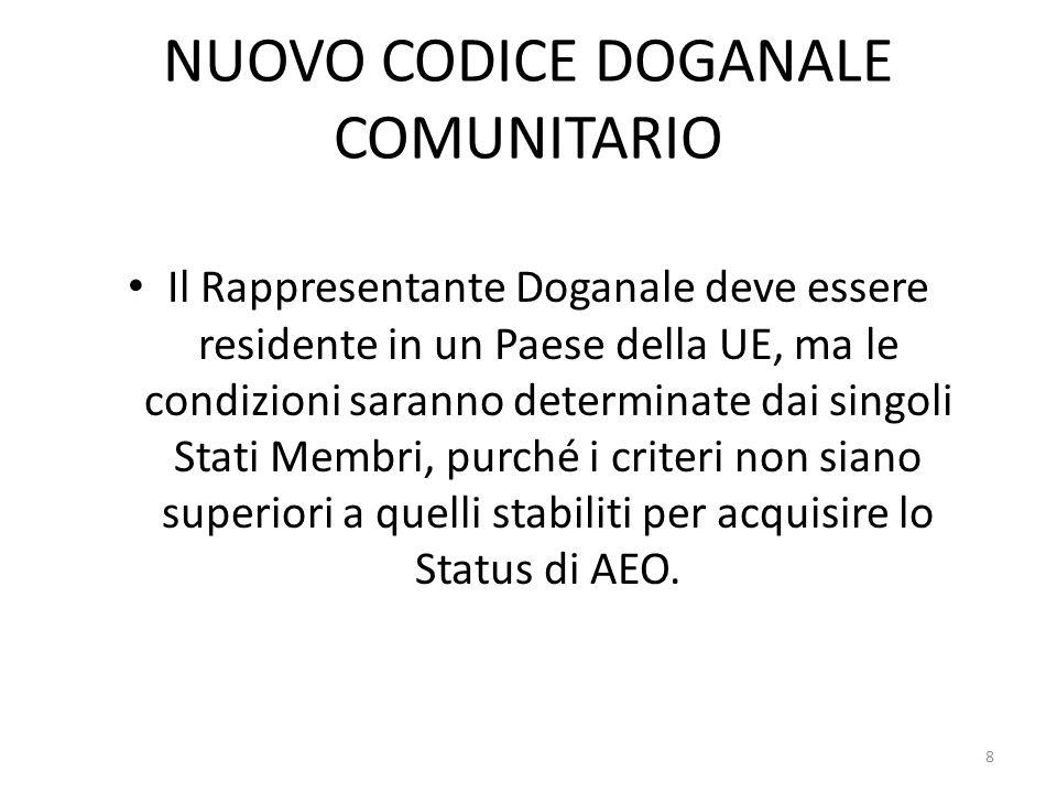 NUOVO CODICE DOGANALE COMUNITARIO Il Rappresentante Doganale deve essere residente in un Paese della UE, ma le condizioni saranno determinate dai sing