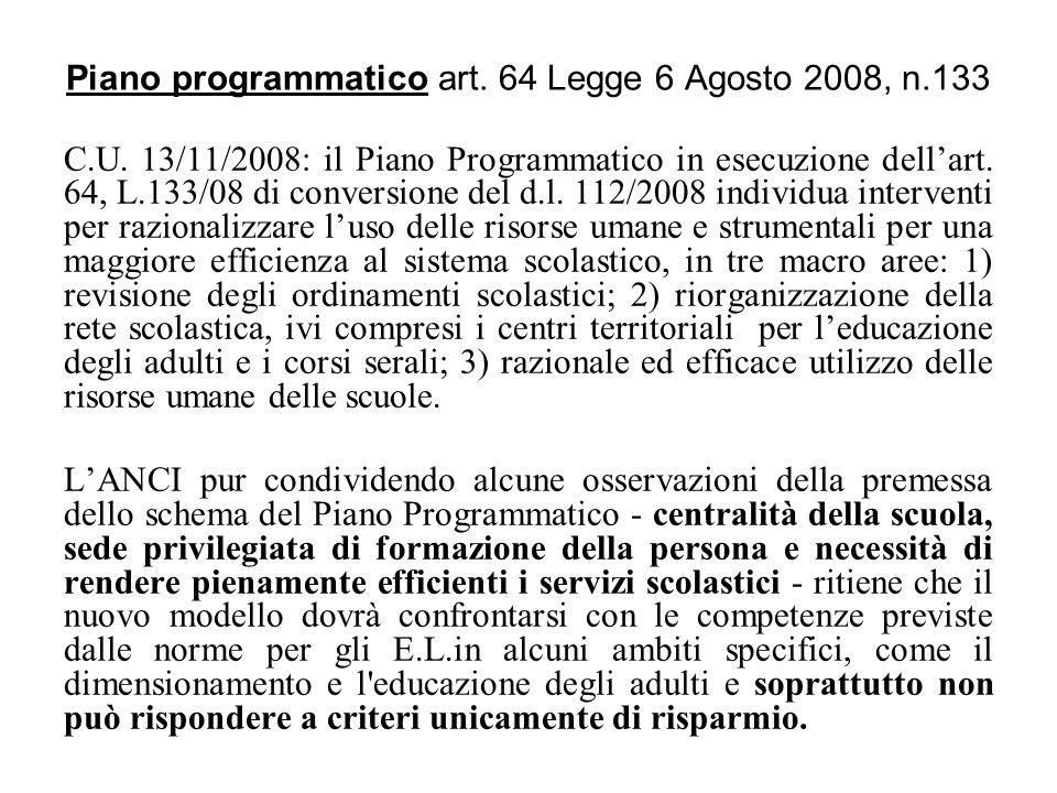 Piano programmatico art. 64 Legge 6 Agosto 2008, n.133 C.U. 13/11/2008: il Piano Programmatico in esecuzione dellart. 64, L.133/08 di conversione del