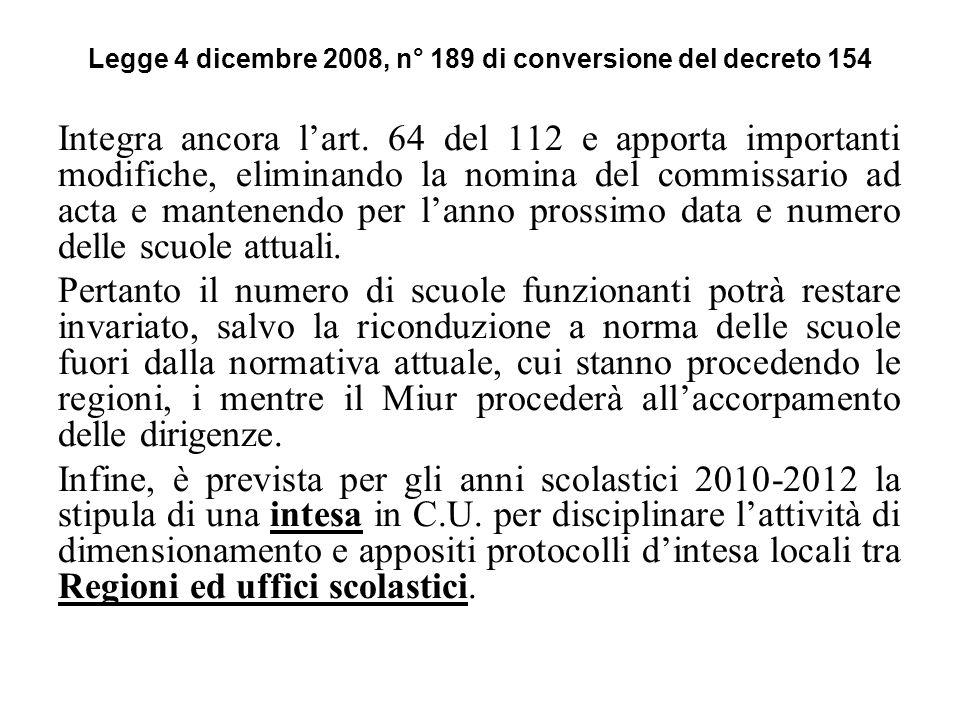 Legge 4 dicembre 2008, n° 189 di conversione del decreto 154 Integra ancora lart. 64 del 112 e apporta importanti modifiche, eliminando la nomina del