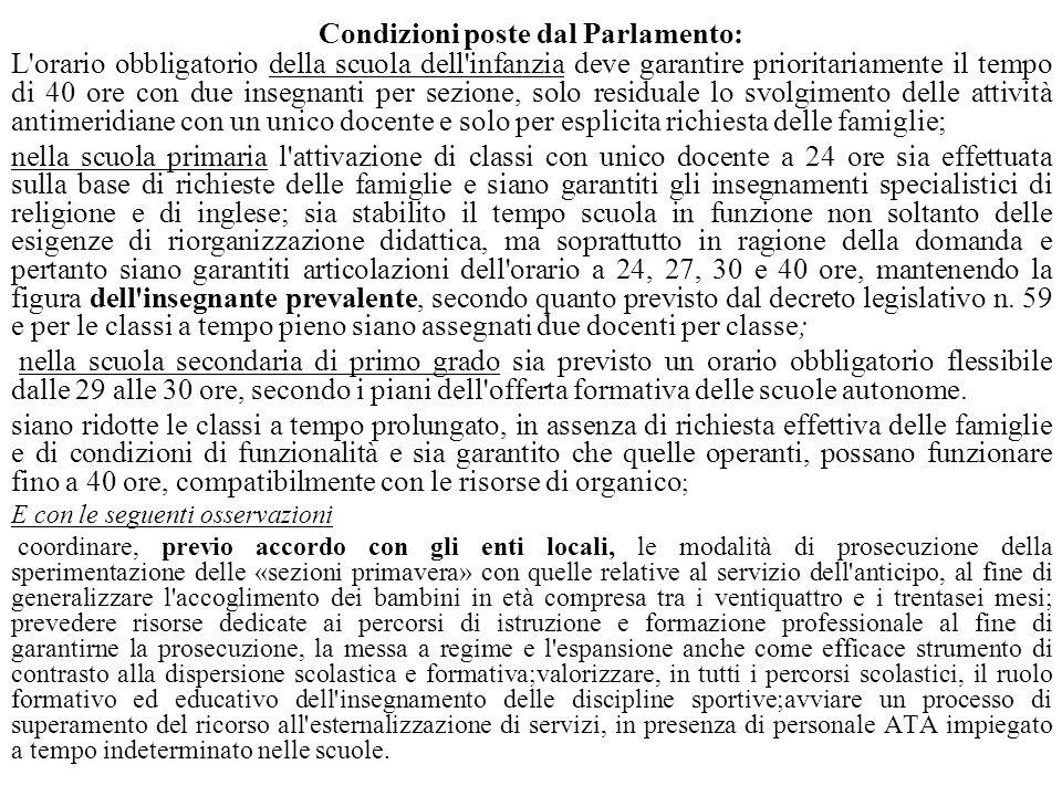Condizioni poste dal Parlamento: L'orario obbligatorio della scuola dell'infanzia deve garantire prioritariamente il tempo di 40 ore con due insegnant
