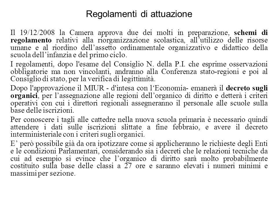 Regolamenti di attuazione Il 19/12/2008 la Camera approva due dei molti in preparazione, schemi di regolamento relativi alla riorganizzazione scolasti