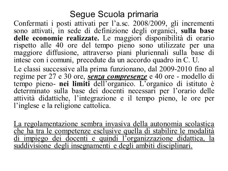 Segue Scuola primaria Confermati i posti attivati per la.sc. 2008/2009, gli incrementi sono attivati, in sede di definizione degli organici, sulla bas
