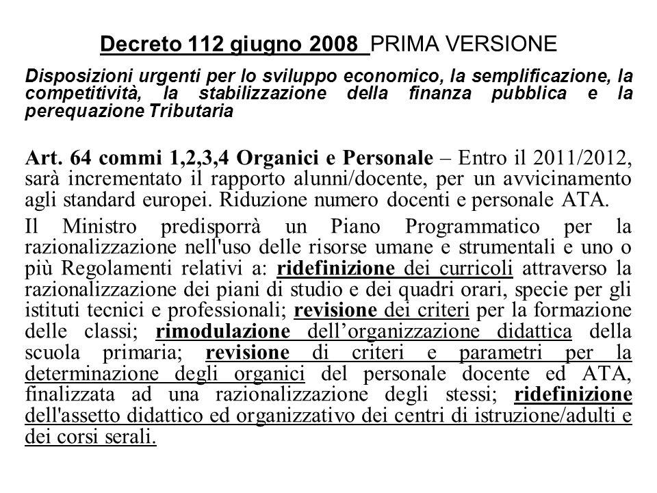 Decreto 112 giugno 2008 PRIMA VERSIONE Disposizioni urgenti per lo sviluppo economico, la semplificazione, la competitività, la stabilizzazione della finanza pubblica e la perequazione Tributaria Art.
