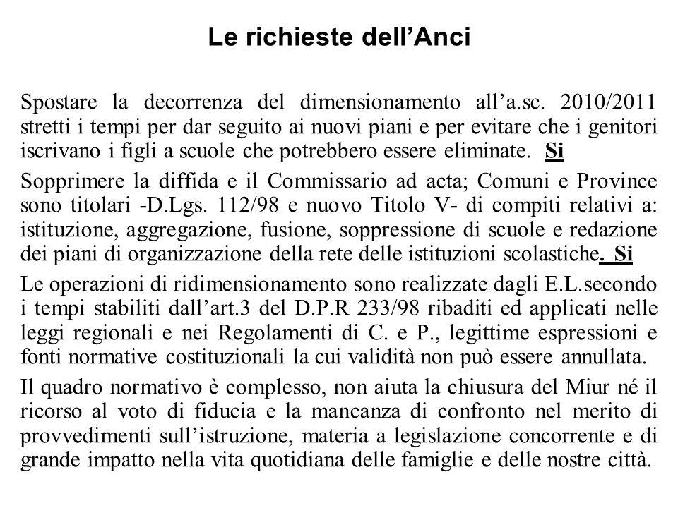 Le richieste dellAnci Spostare la decorrenza del dimensionamento alla.sc. 2010/2011 stretti i tempi per dar seguito ai nuovi piani e per evitare che i