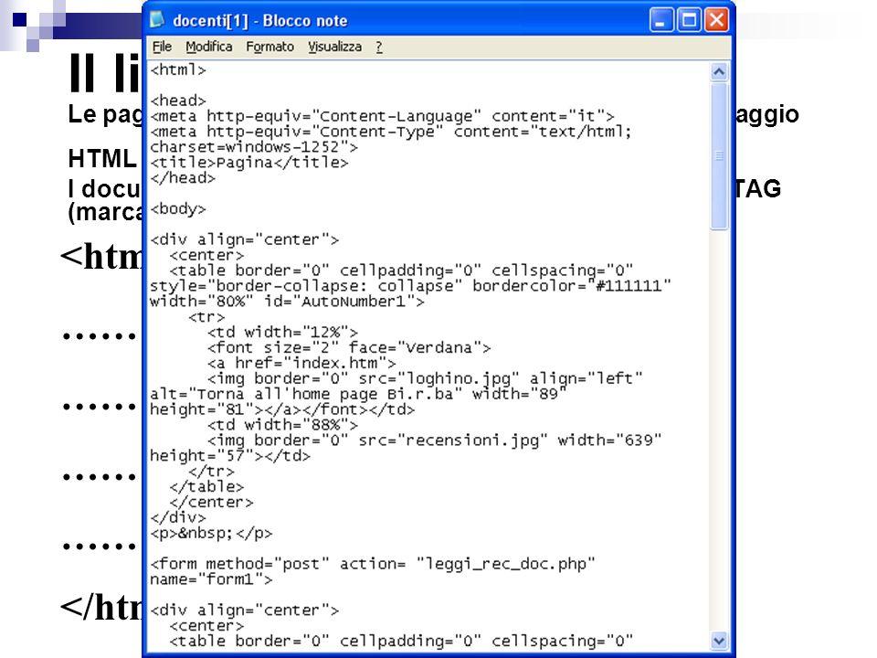 Il linguaggio HTML Le pagine web sono file di testo scritte utilizzando il linguaggio HTML.