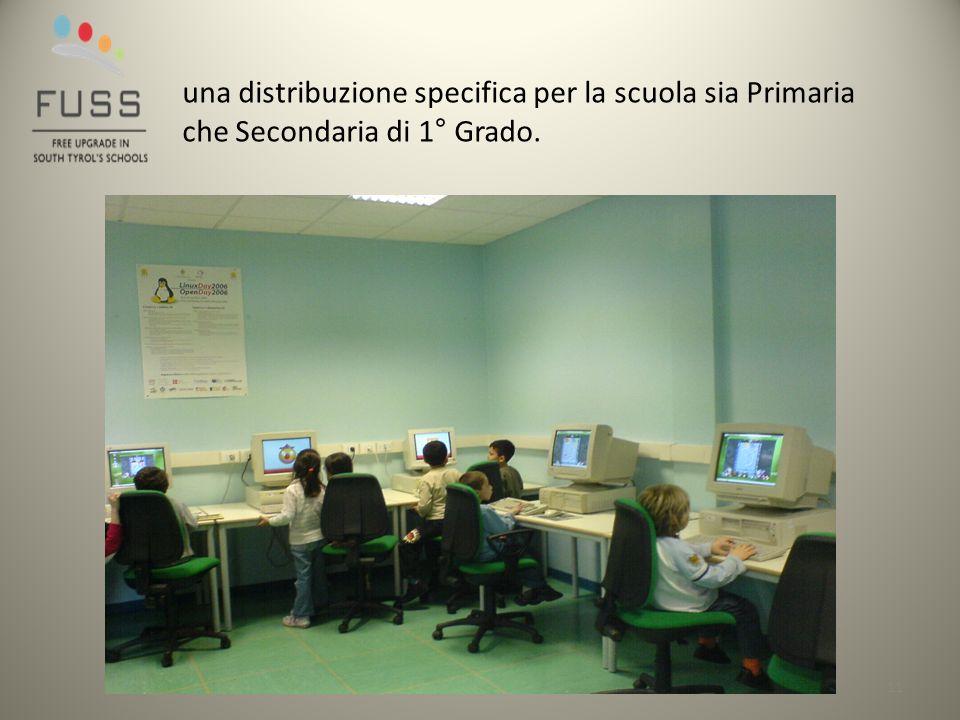 11 una distribuzione specifica per la scuola sia Primaria che Secondaria di 1° Grado.