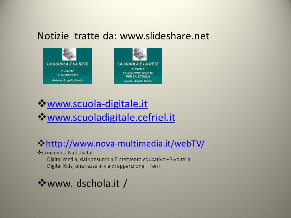 26 Notizie tratte da: www.slideshare.net www.scuola-digitale.it www.scuoladigitale.cefriel.it http://www.nova-multimedia.it/webTV/ Convegno: Nati digi
