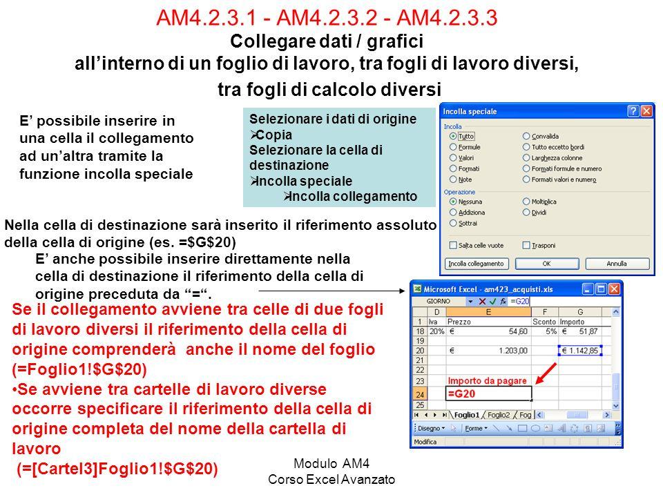 Modulo AM4 Corso Excel Avanzato AM4.2.3.1 - AM4.2.3.2 - AM4.2.3.3 Collegare dati / grafici allinterno di un foglio di lavoro, tra fogli di lavoro dive