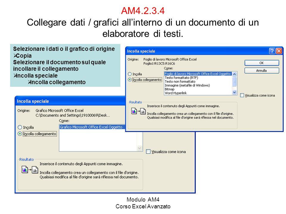 Modulo AM4 Corso Excel Avanzato AM4.2.3.4 Collegare dati / grafici allinterno di un documento di un elaboratore di testi. Selezionare i dati o il graf