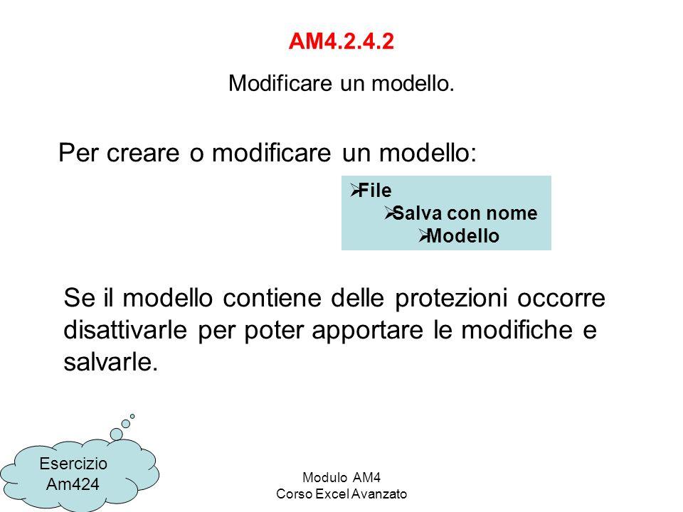 Modulo AM4 Corso Excel Avanzato AM4.2.4.2 Modificare un modello. Esercizio Am424 File Salva con nome Modello Per creare o modificare un modello: Se il