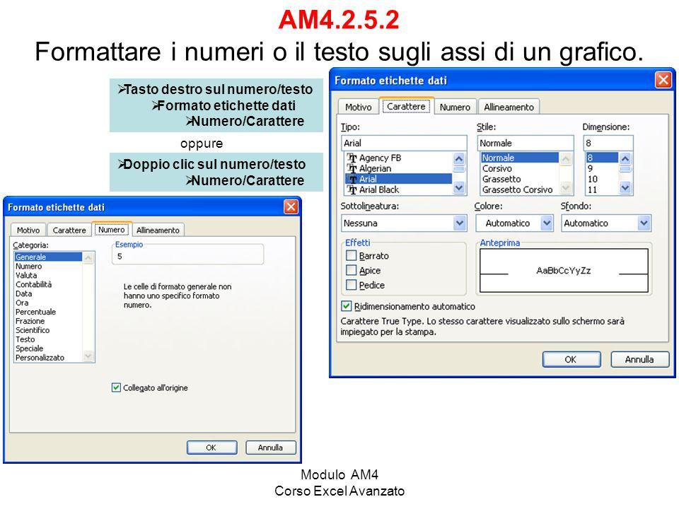 Modulo AM4 Corso Excel Avanzato AM4.2.5.2 Formattare i numeri o il testo sugli assi di un grafico. Tasto destro sul numero/testo Formato etichette dat