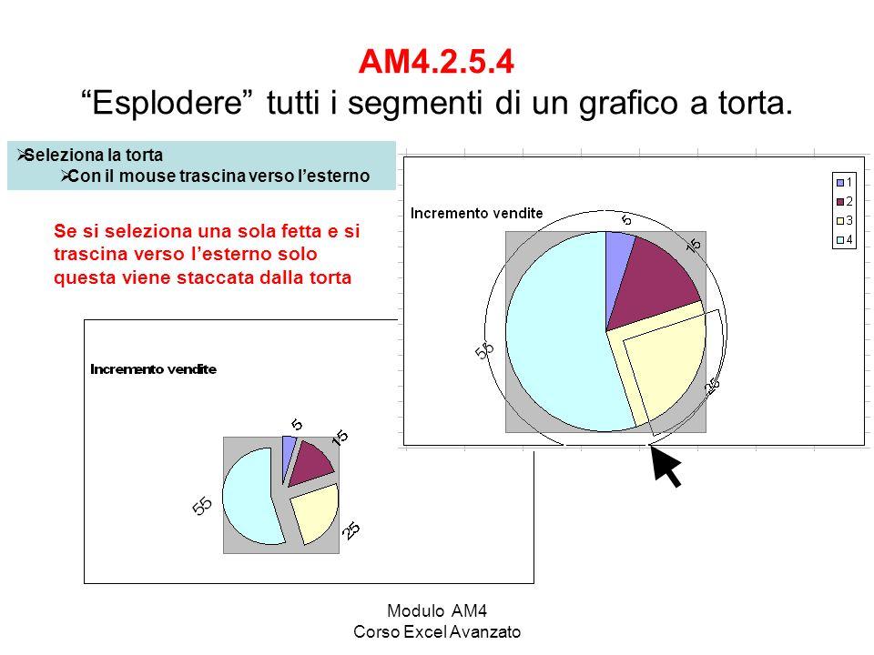 Modulo AM4 Corso Excel Avanzato AM4.2.5.4 Esplodere tutti i segmenti di un grafico a torta. Seleziona la torta Con il mouse trascina verso lesterno Se