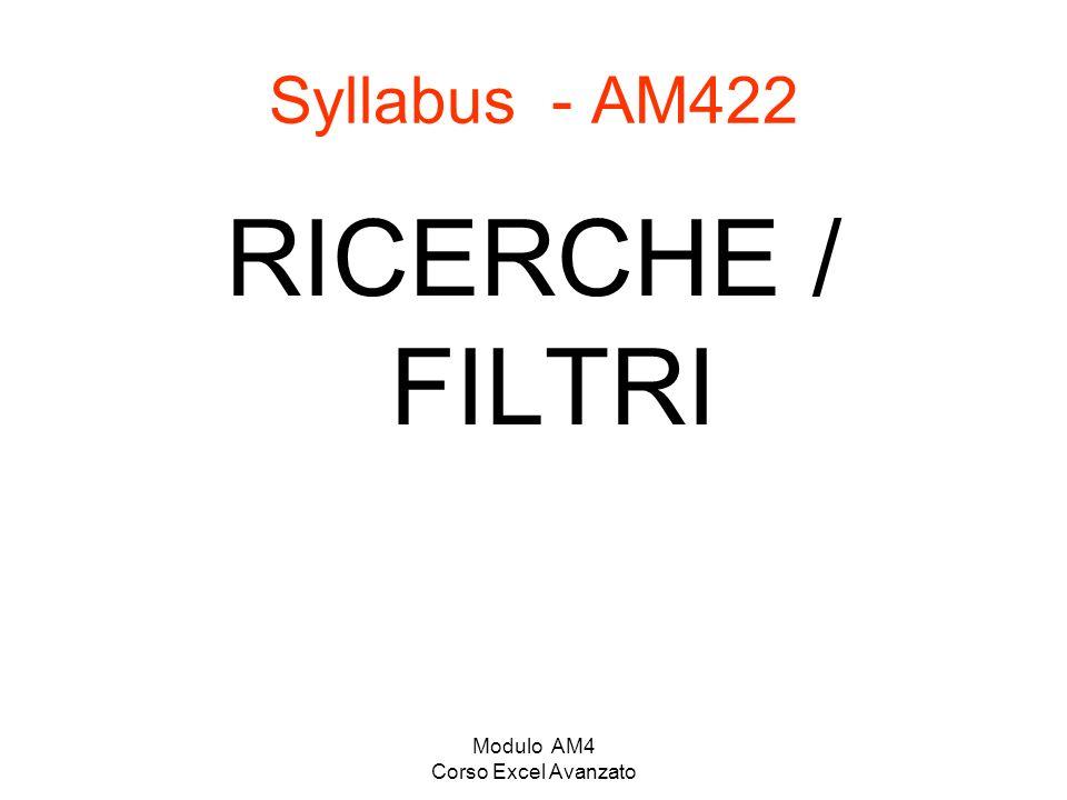 Modulo AM4 Corso Excel Avanzato Syllabus - AM422 RICERCHE / FILTRI