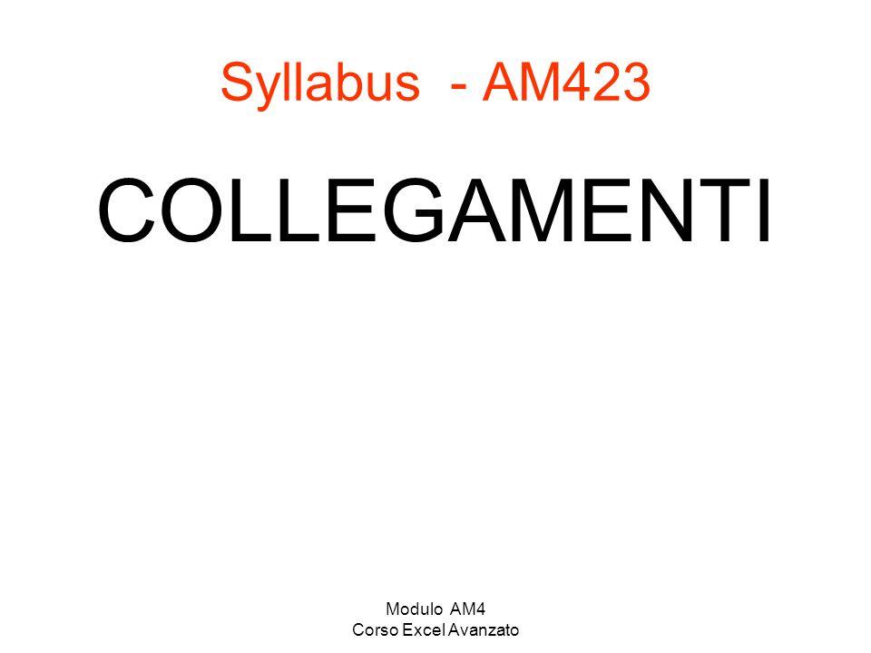 Modulo AM4 Corso Excel Avanzato Syllabus - AM423 COLLEGAMENTI