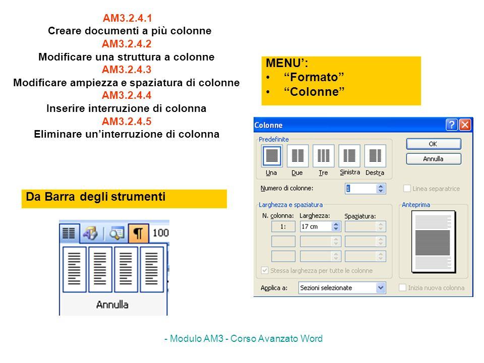 - Modulo AM3 - Corso Avanzato Word AM3.2.4.1 Creare documenti a più colonne AM3.2.4.2 Modificare una struttura a colonne AM3.2.4.3 Modificare ampiezza