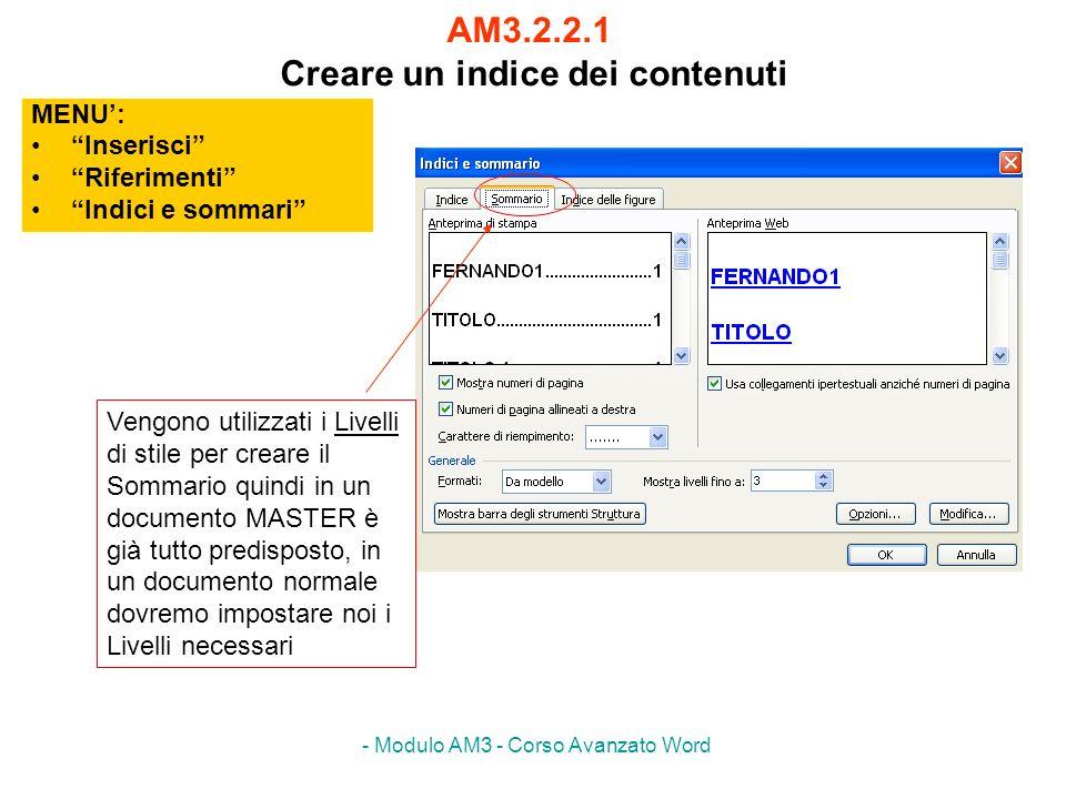 - Modulo AM3 - Corso Avanzato Word AM3.2.2.2 Aggiornare e modificare un indice dei contenuti esistente AM3.2.2.3 Applicare delle formattazioni ad un indice dei contenuti MENU: Inserisci Riferimenti Indici e sommari Per utilizzare un proprio stile come Livello