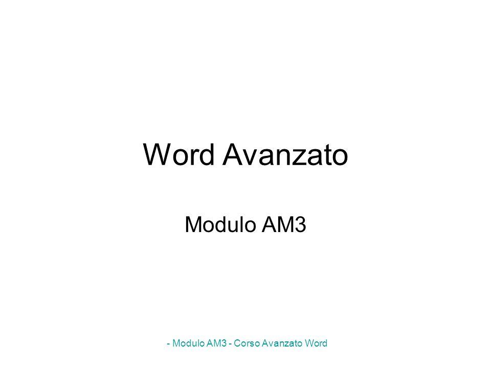 - Modulo AM3 - Corso Avanzato Word AM3.1.3.1 Modificare la formattazione di base e la composizionedi base della pagina di un modello MENU: Strumenti Modelli e aggiunte I modelli utilizzati da Word sono di due tipi: modelli generali C:\Windows\Application Data\Microsoft\Modelli (cartella predefinita) modelli di documento C:\Programmi\Microsoft Office\Templates\1040 o altre cartelle N.B: Per creare un proprio modello di documento è necessario salvarlo in una sottocartella della cartella dei modelli generali AM3.1.3.1 Creare un nuovo modello basato su un documento o modello esistente