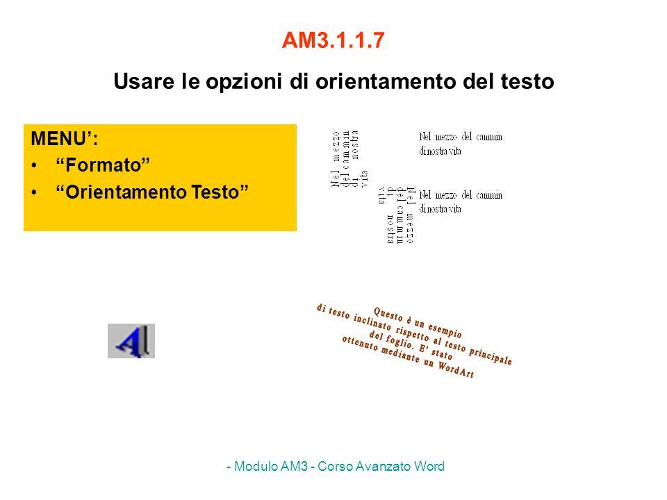 - Modulo AM3 - Corso Avanzato Word AM3.1.1.7 Usare le opzioni di orientamento del testo MENU: Formato Orientamento Testo