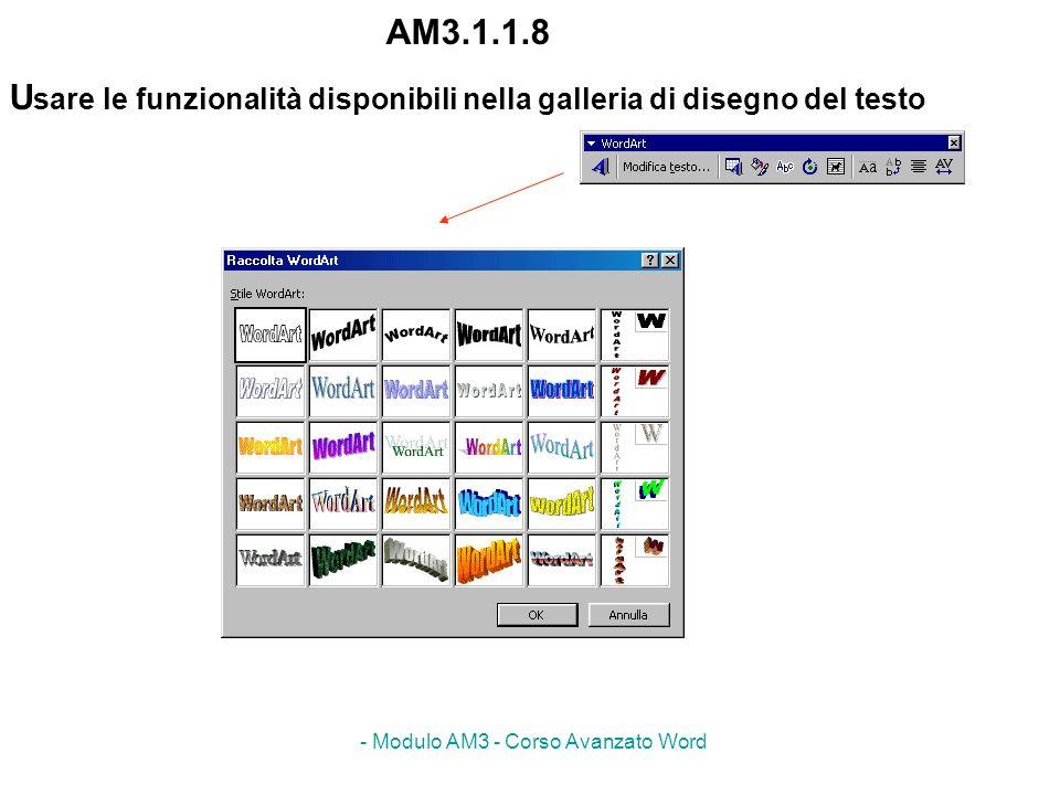 - Modulo AM3 - Corso Avanzato Word AM3.1.1.8 U sare le funzionalità disponibili nella galleria di disegno del testo