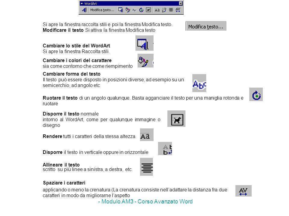 - Modulo AM3 - Corso Avanzato Word Si apre la finestra raccolta stili e poi la finestra Modifica testo. Modificare il testo Si attiva la finestra Modi