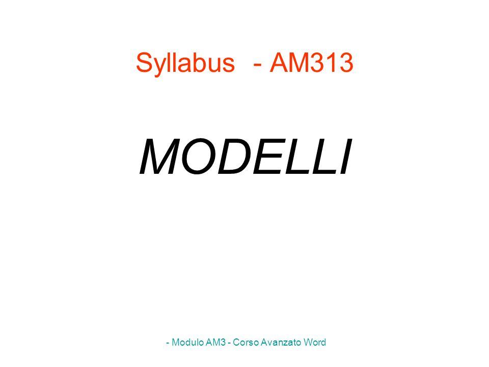- Modulo AM3 - Corso Avanzato Word Syllabus - AM313 MODELLI