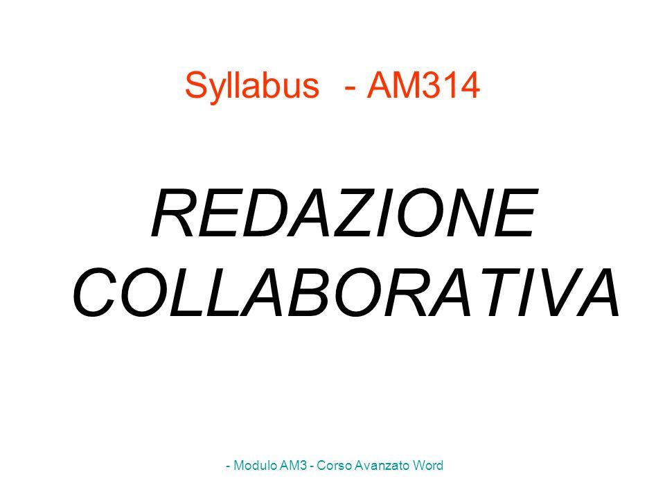 - Modulo AM3 - Corso Avanzato Word Syllabus - AM314 REDAZIONE COLLABORATIVA
