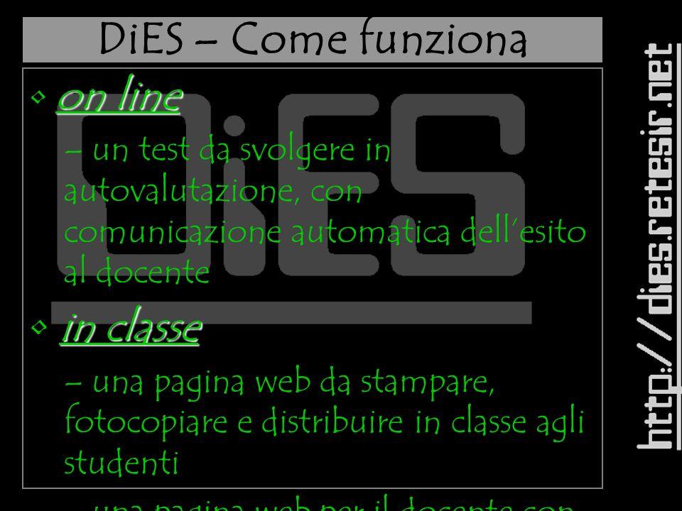 DiES – Visitiamo il sito D D D D D iiii EEEE SSSS L La lezione del giorno interrogazione dellarchivio on line a versione under 12 C Crea una lezione