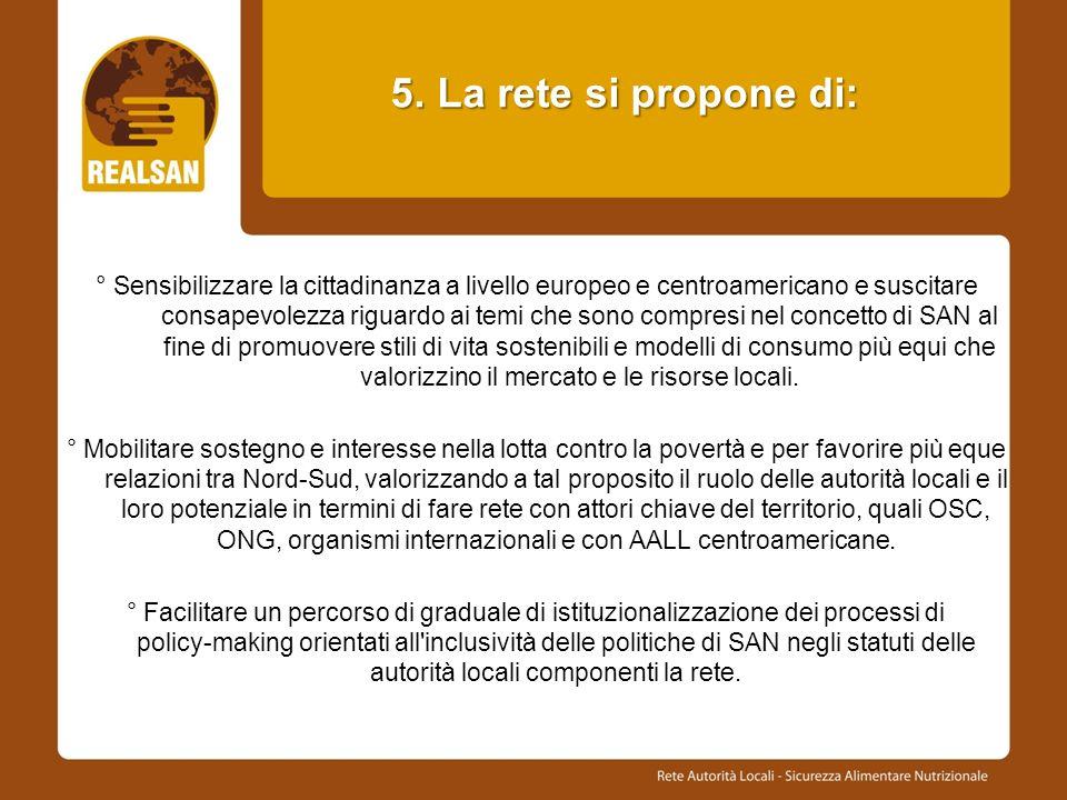 5. La rete si propone di: 5. La rete si propone di: ° Sensibilizzare la cittadinanza a livello europeo e centroamericano e suscitare consapevolezza ri