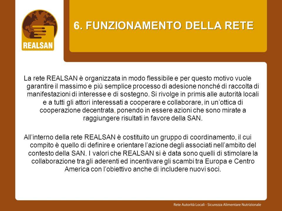 . FUNZIONAMENTO DELLA RETE 6. FUNZIONAMENTO DELLA RETE La rete REALSAN è organizzata in modo flessibile e per questo motivo vuole garantire il massimo