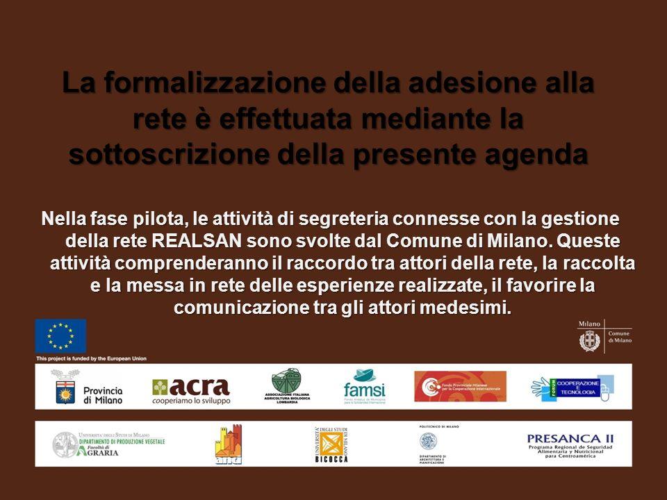 La formalizzazione della adesione alla rete è effettuata mediante la sottoscrizione della presente agenda Nella fase pilota, le attività di segreteria connesse con la gestione della rete REALSAN sono svolte dal Comune di Milano.