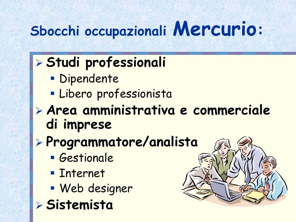Sbocchi occupazionali Mercurio : Studi professionali Dipendente Libero professionista Area amministrativa e commerciale di imprese Programmatore/anali