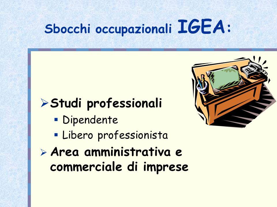 Sbocchi occupazionali IGEA : Studi professionali Dipendente Libero professionista Area amministrativa e commerciale di imprese