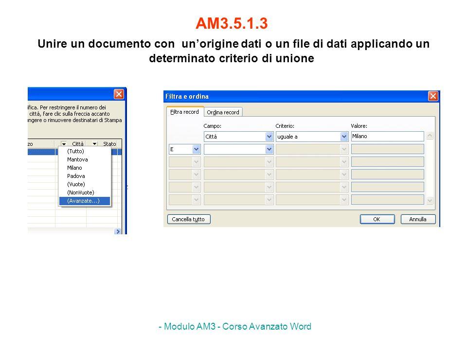 - Modulo AM3 - Corso Avanzato Word Svolgere lesercizio AM347