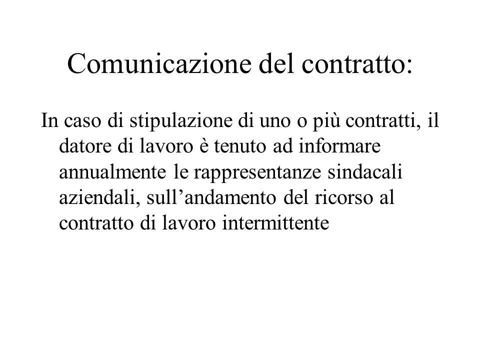 Comunicazione del contratto: In caso di stipulazione di uno o più contratti, il datore di lavoro è tenuto ad informare annualmente le rappresentanze sindacali aziendali, sullandamento del ricorso al contratto di lavoro intermittente