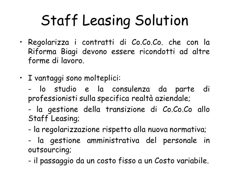 Staff Leasing Solution Regolarizza i contratti di Co.Co.Co. che con la Riforma Biagi devono essere ricondotti ad altre forme di lavoro. I vantaggi son