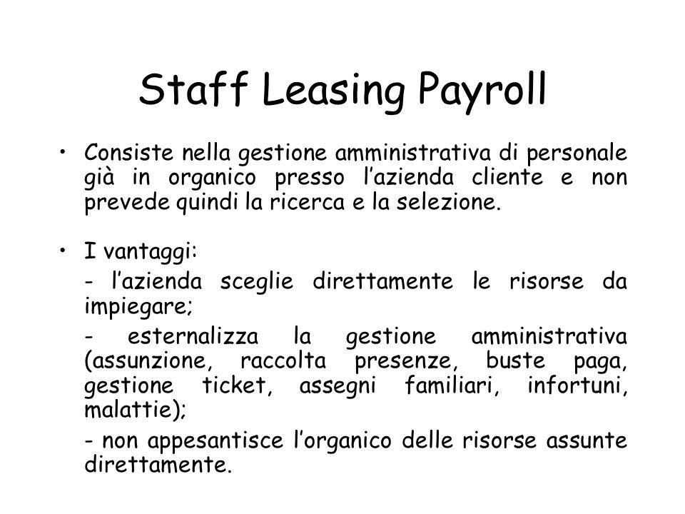 Staff Leasing Payroll Consiste nella gestione amministrativa di personale già in organico presso lazienda cliente e non prevede quindi la ricerca e la