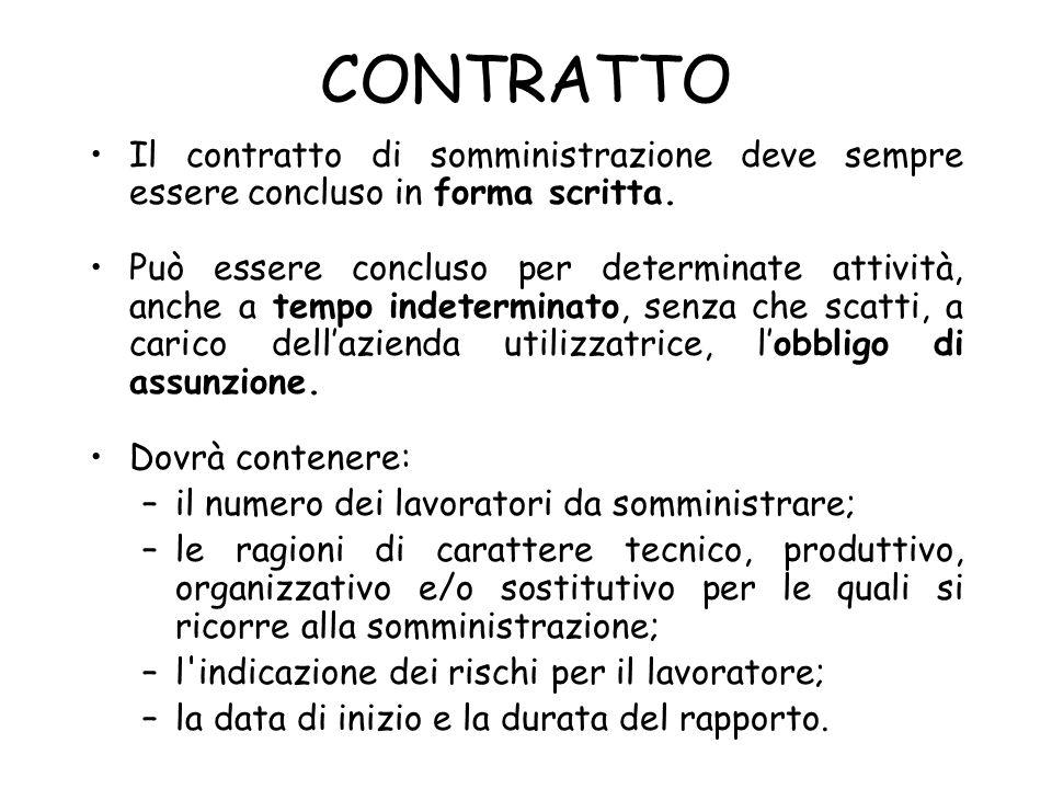 CONTRATTO Il contratto di somministrazione deve sempre essere concluso in forma scritta. Può essere concluso per determinate attività, anche a tempo i
