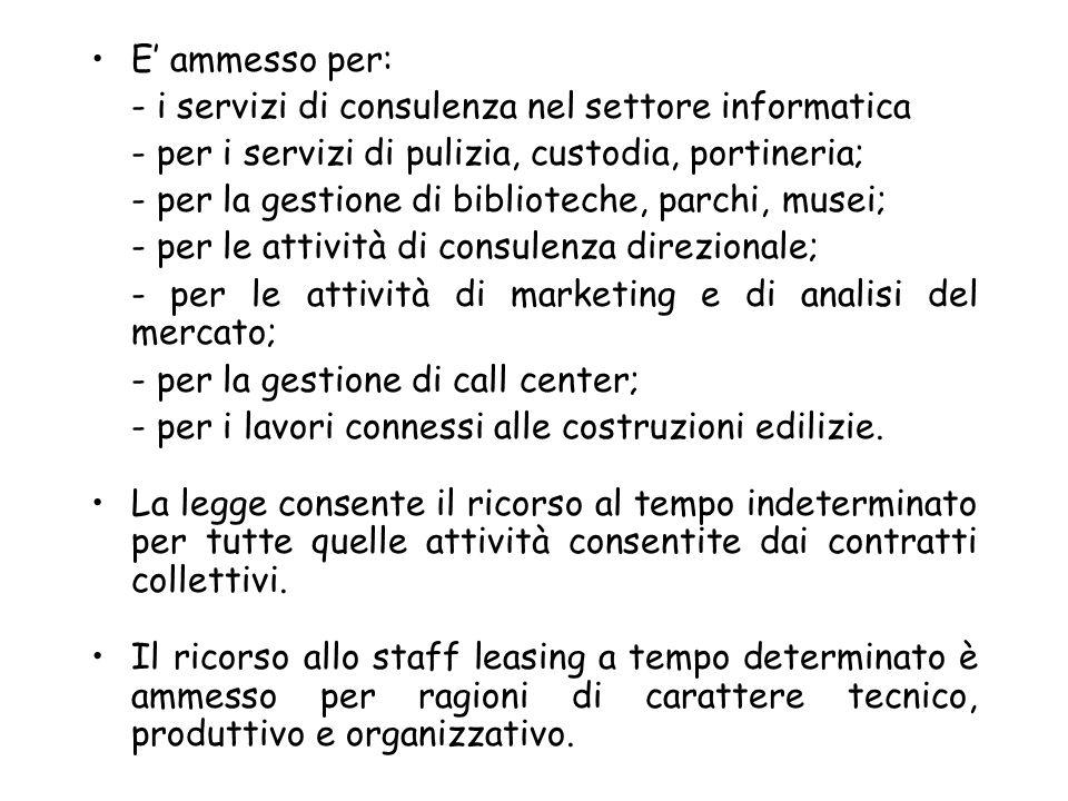 E ammesso per: - i servizi di consulenza nel settore informatica - per i servizi di pulizia, custodia, portineria; - per la gestione di biblioteche, p