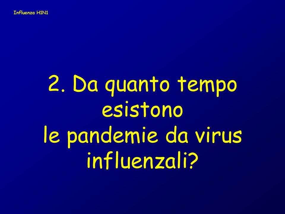 2. Da quanto tempo esistono le pandemie da virus influenzali? Influenza H1N1
