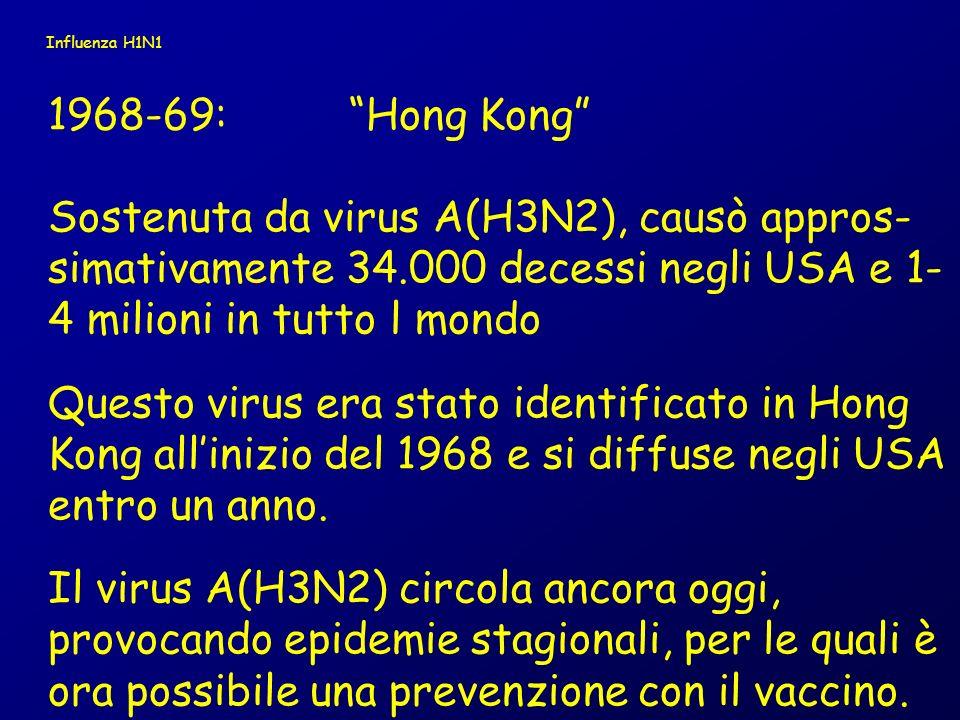 Nel 20° secolo cè stata poi unaltra pandemia: 1977A/H1N1 Russa ha colpito sopratutto soggetti nati dopo il 1957 Influenza H1N1