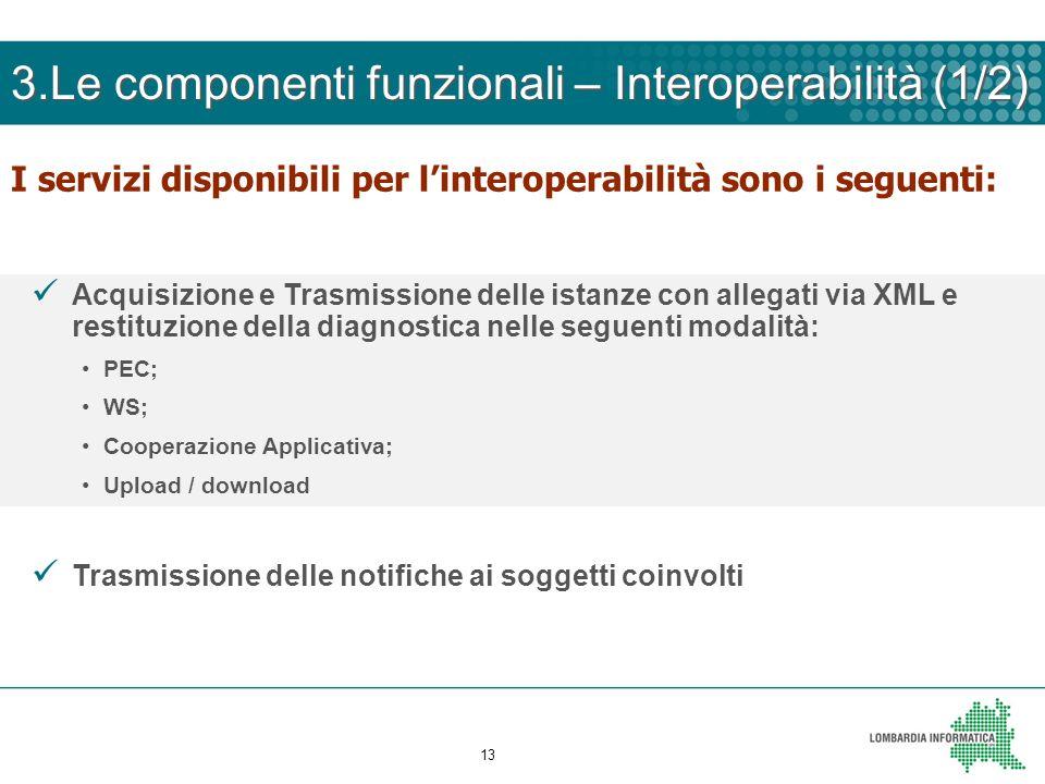 13 I servizi disponibili per linteroperabilità sono i seguenti: Acquisizione e Trasmissione delle istanze con allegati via XML e restituzione della di