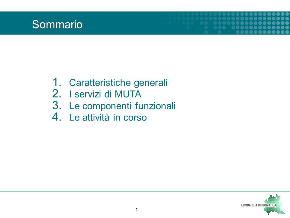 22 1. Caratteristiche generali 2. I servizi di MUTA 3. Le componenti funzionali 4. Le attività in corso Sommario