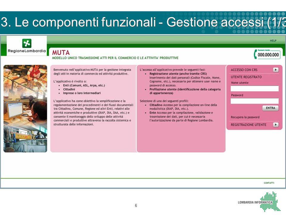 7 3. Le componenti funzionali - Gestione accessi (2/3)