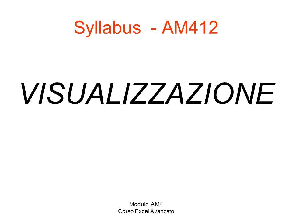 Modulo AM4 Corso Excel Avanzato Syllabus - AM412 VISUALIZZAZIONE