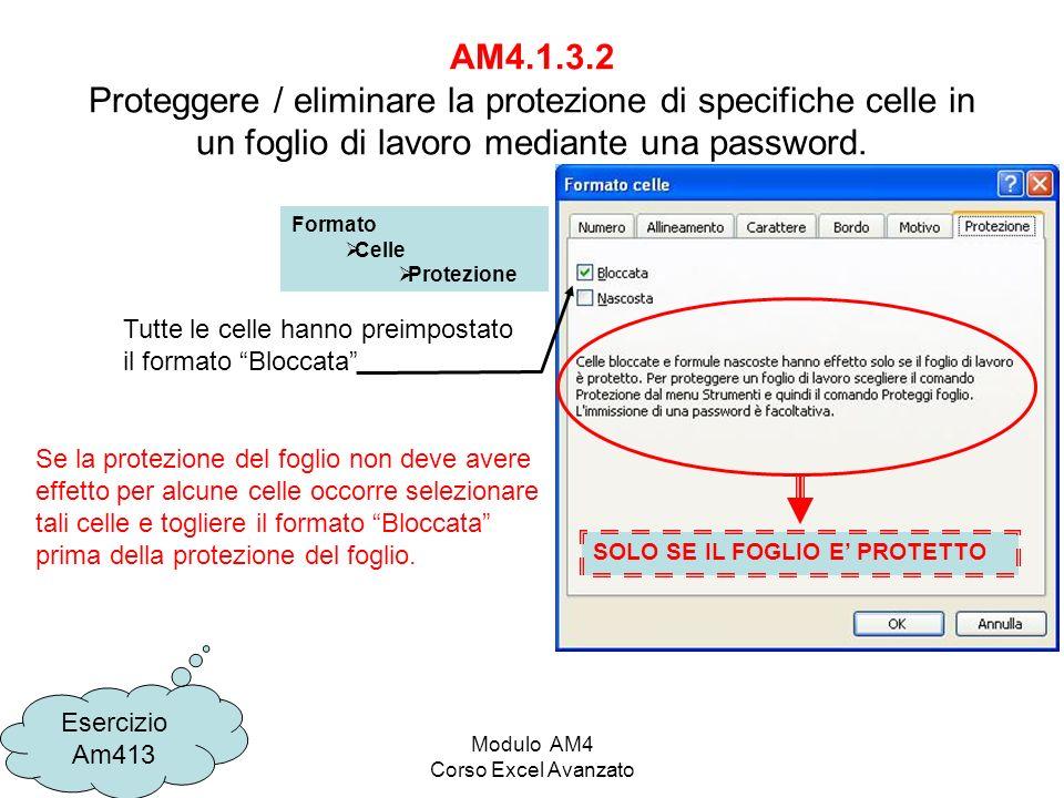 Modulo AM4 Corso Excel Avanzato AM4.1.3.2 Proteggere / eliminare la protezione di specifiche celle in un foglio di lavoro mediante una password.