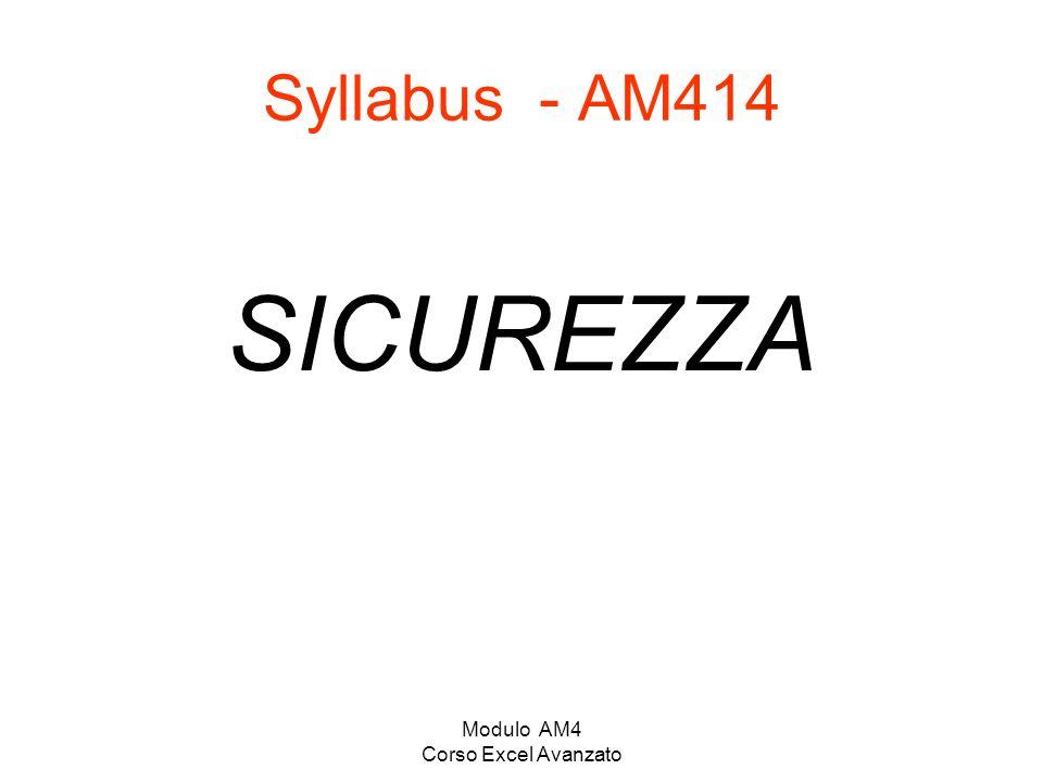 Modulo AM4 Corso Excel Avanzato Syllabus - AM414 SICUREZZA