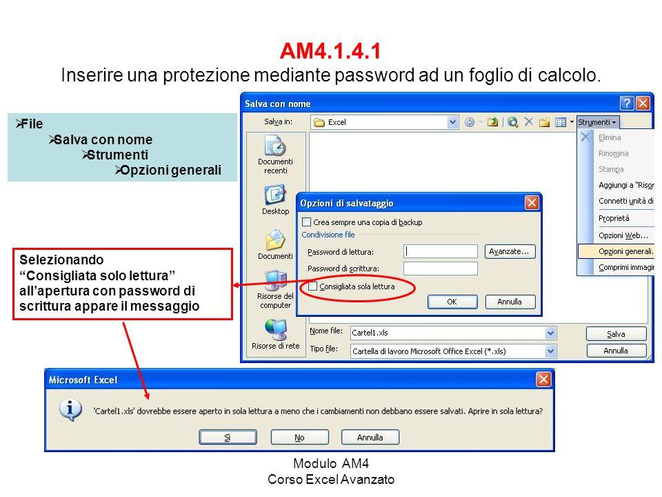 Modulo AM4 Corso Excel Avanzato AM4.1.4.1 Inserire una protezione mediante password ad un foglio di calcolo.